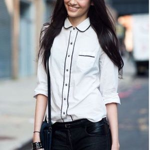 FINAL SALE JCrew white shirt with black piping